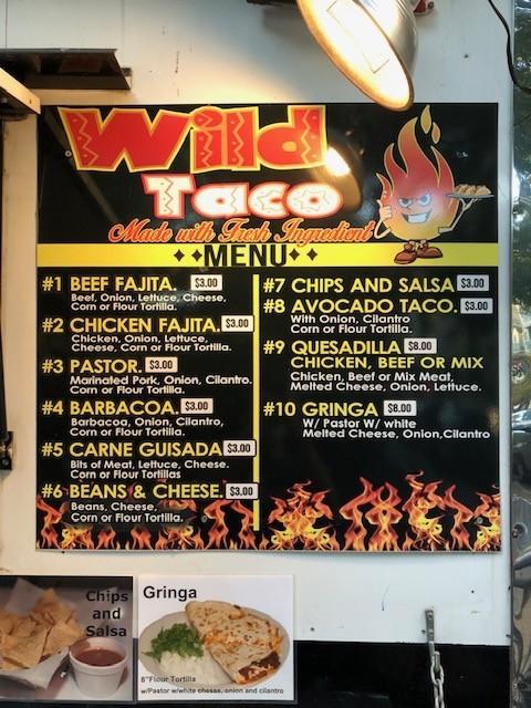 Wild Taco Menu